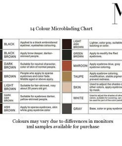 Microblading Biomaser colour chart