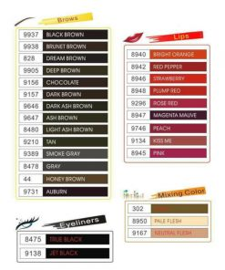 Biomaser liquid machine micropigment colour chart